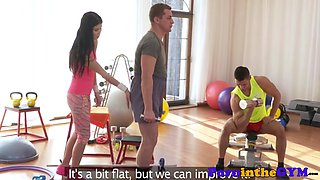 Athletic fitness babe rides cock in mmf trio