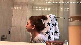 my fresh18 little sister spied on in the bathroom again - glass shower door