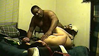 Black fat man fucks Mexican BBW lady in the shabby bedroom