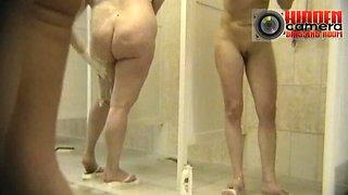 A group of MILFs having a shower on a hidden cam video