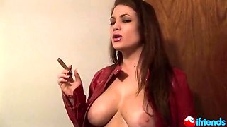 Cigar Smoking Babe shows it ALL