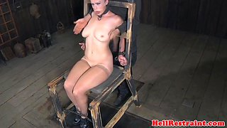 Restrained sub fucked in dungeon by maledom