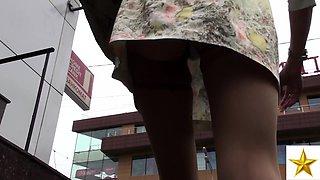 Sexy European blonde in white panties and stockings upskirt