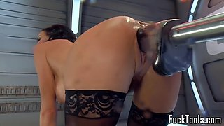 Busty machine milf drilling holes and squirts