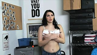 Stretching teen thief pussy at the office
