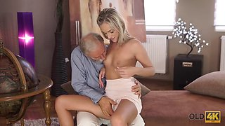 OLD4K. Young college girl comes to old teachers house for sex