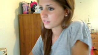 Young webcam beauty stripping
