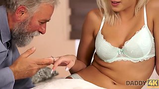 18 Years Old, Doll Face And Ria Sun In Blond Hair Babe-haired Tries Old Prick