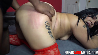 Phoneix Latina Interracial in Red Lingerie