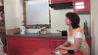 Family threesome on the kitchen