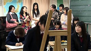 Naughty Japanese schoolgirls engage in wild lesbian action