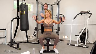Good looking Cherie Deville gets her cunt plowed in the gym