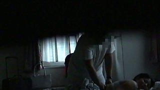 Hot spycam massage for amateur babe on the huge bed