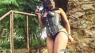 Black Babe Restrained for Outdoor Bondage Punishment