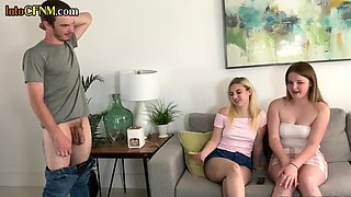 CFNM college chicks blowing hung roommate during threesome
