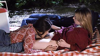 Two sensual girls Kenna James and her girlfriend are making love in the park