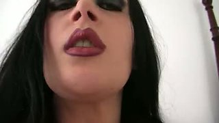 Italian hot  Gothic gal with big boobs is fond of hardcore.