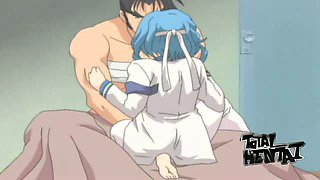 Blue haired hentai nurse helps dude to recover by flashing her titties