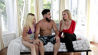 Busty mom and sexy teen sharing one huge man meat