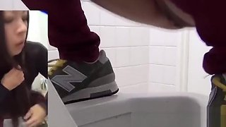 Japanese babes peeing golden piss in urinal POV voyeur