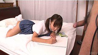 Lusty Asian college slut Momoka Rin sucks juicy cock of her camera fellow