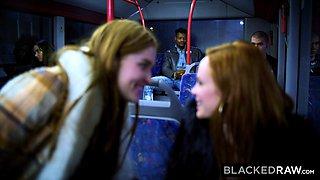 BLACKEDRAW Two Beauties Fuck Giant BBC On Bus!