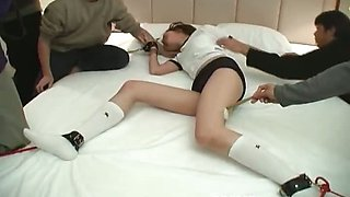 Crazy Asian chick got punished and tied