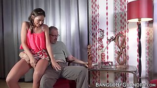 Young beauty earns facial by riding seniors hard cock