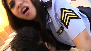 Thai slut has a fuck in her police outfit