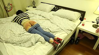 Naughty asian girlfriend caned at home