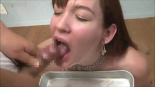 AMWF BUKKAKE ( white girl drinks asian cum) CENSORED