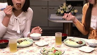 Japanese housewives eating pussy in kitchen
