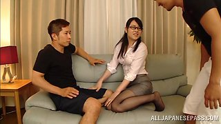 Asian hottie's left of breath after a threesome