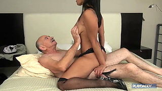 Oldman Riding Young Latina Cunt