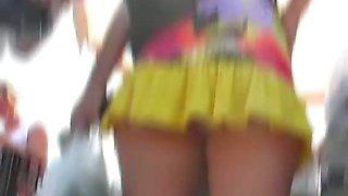 Hot upskirt closeups made on the bus