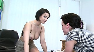 Two German office babes get funky at work