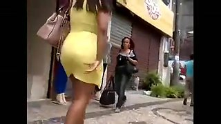 Candid bbw latina with big booty,yellow,dress n heels