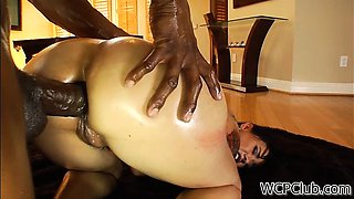 White slut with an oiled ass gets pounded