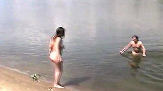 Amateur swingers on the publick beach