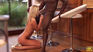 Caucasian blonde gave a sensual blowjob to a black guy and enjoyed getting stuffed with that cock