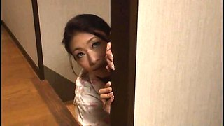 Stacked Japanese milf takes a young cock in her hairy slit