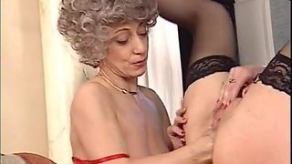 junior stud banging two old ladies in the ass
