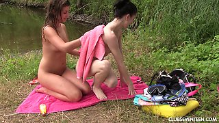 Sexy lesbian freinds swim naked and pleasure each other's cunt