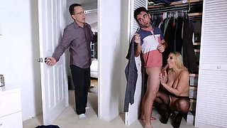 Daddy proud and chum's step sisters caught by xxx