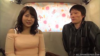 Horny Asian girl finally gets to ride a dick in the car