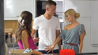 Dirty MILF and young couple make love right in kitchen