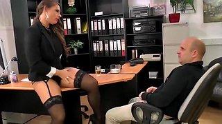 Dirty Talking MILF Anal Secretary Big Tits Stockings