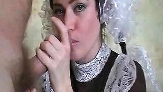 Innocent maid gets her mouth fucked