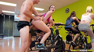 rachel starr gets banged on the gym bike
