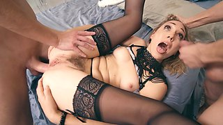 Hard double penetration for cutie in beautiful lingerie
